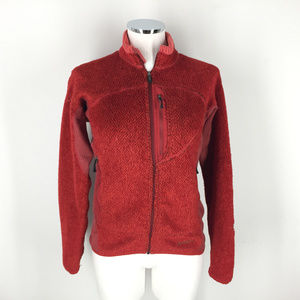 Patagonia Burnt Orange Red Fuzzy Fleece Full Zip S